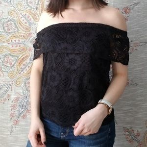 AQUA off the shoulder black lace top